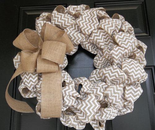 Burlap straw mesh wreath
