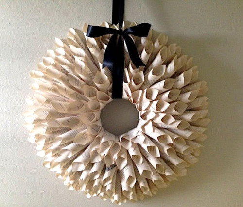 book paper door wreath