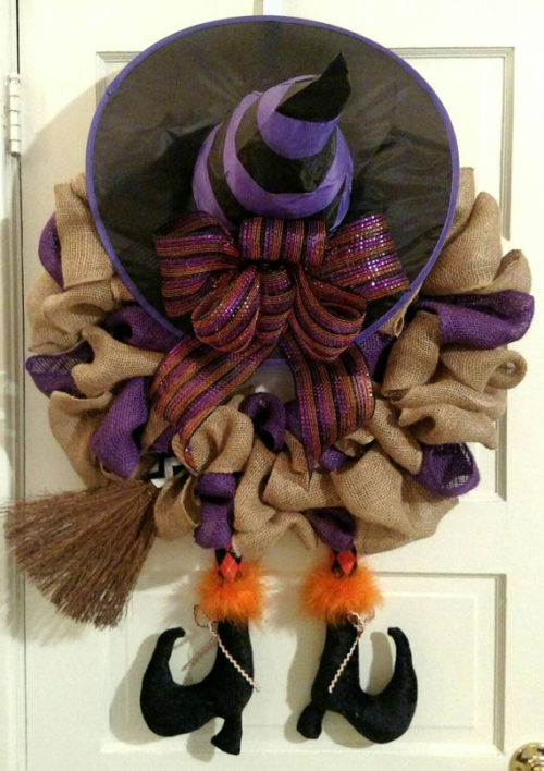 How To Make A Witch Halloween Burlap Wreath Video