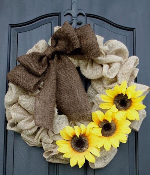 burlap wreath with sunflowers