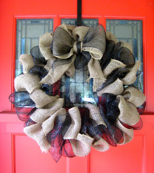 fall wreaths how to make multi colored burlap wreath video. Black Bedroom Furniture Sets. Home Design Ideas
