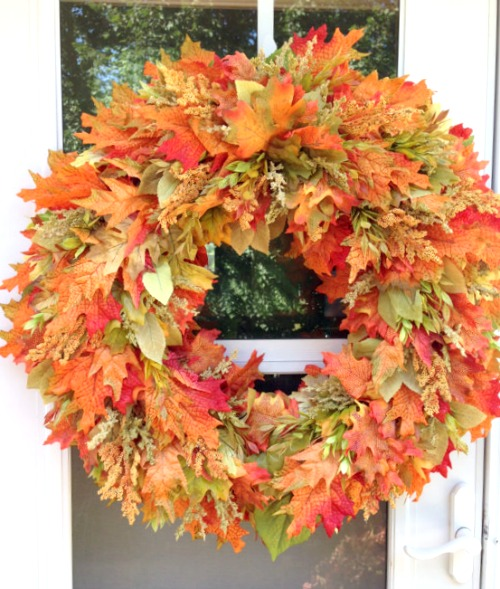 fall leaves wreath tutorial