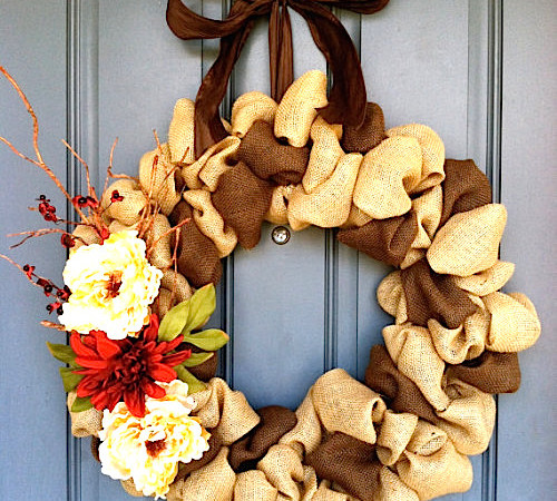 How to Make a Multi-Colored Ribbon Burlap Wreath (Video)