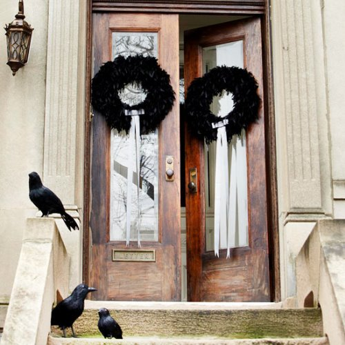 black feather halloween wreaths