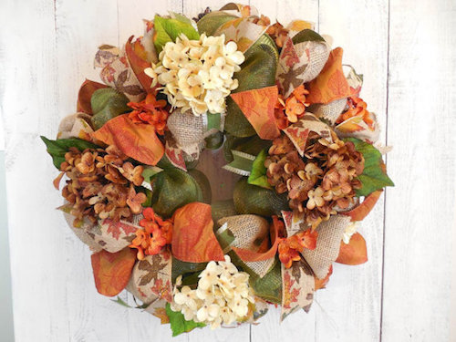 How to Make a Fall Burlap and Mesh Ribbon Wreath (Video)