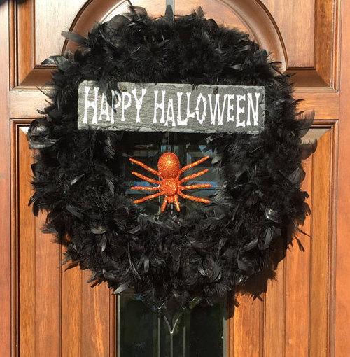 halloween feather wreath