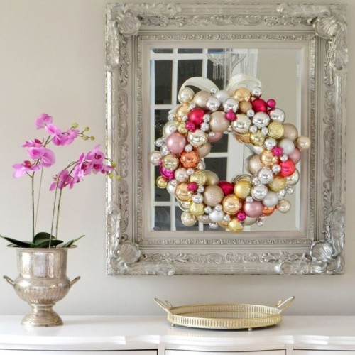 ornament wreath mirror