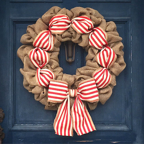 Christmas Burlap Wreath Peppermint Stripe
