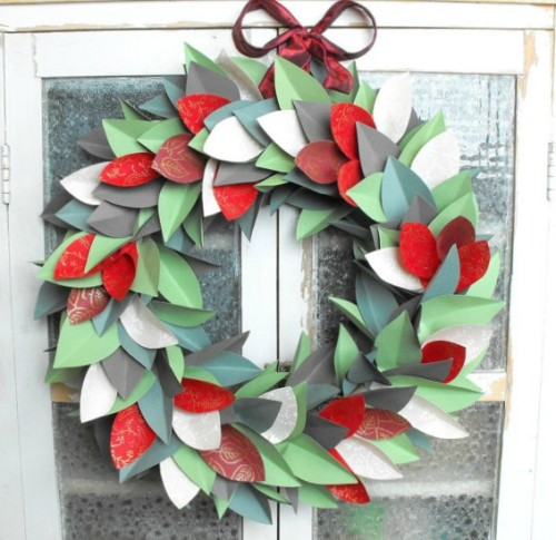 brown bag paper leaf wreath