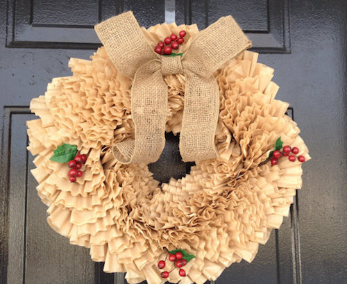 How to Make a Coffee Filter Christmas Wreath (Video)