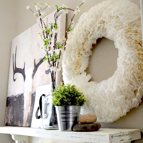 coffee-filter-wreath mantle