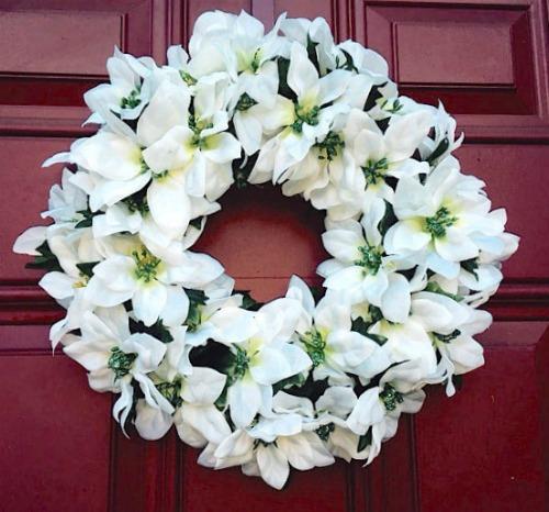 white poinsettia wreath tutorial