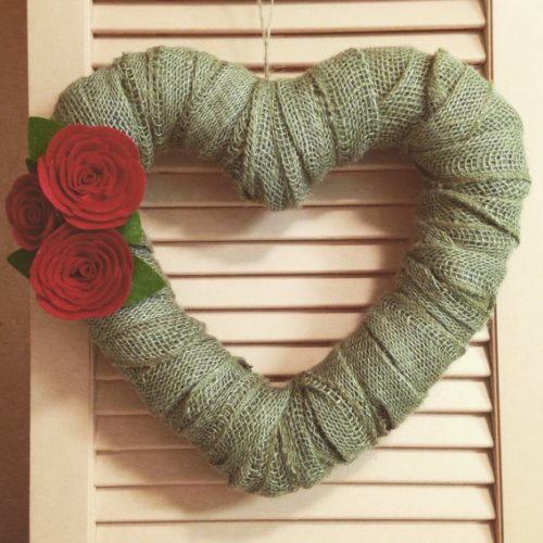burlap wreath heart wreath valentine ideas