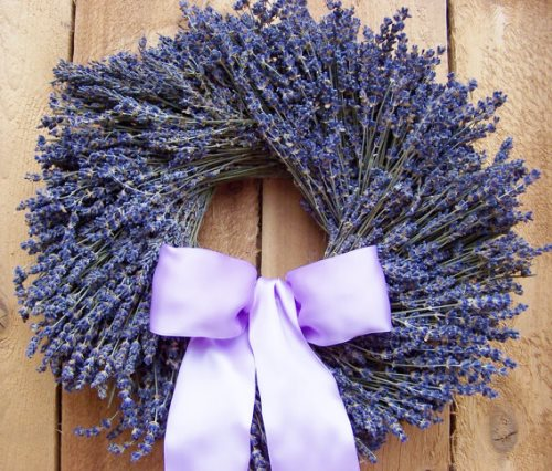 dried lavender plants wreath