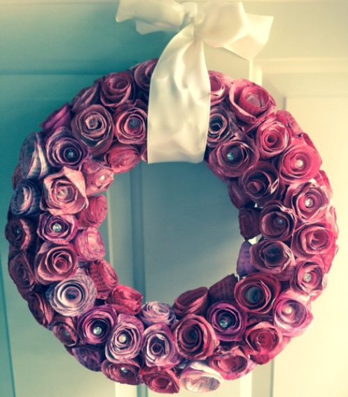 paper crafts roses wreath