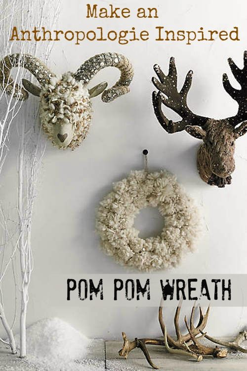 anthropolgie inspired pom pom wreath