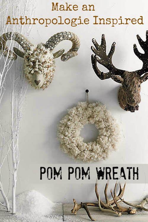 anthropolgie inspired pom pom wreath