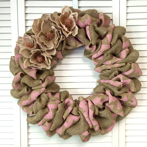 chevron pink burlap wreath