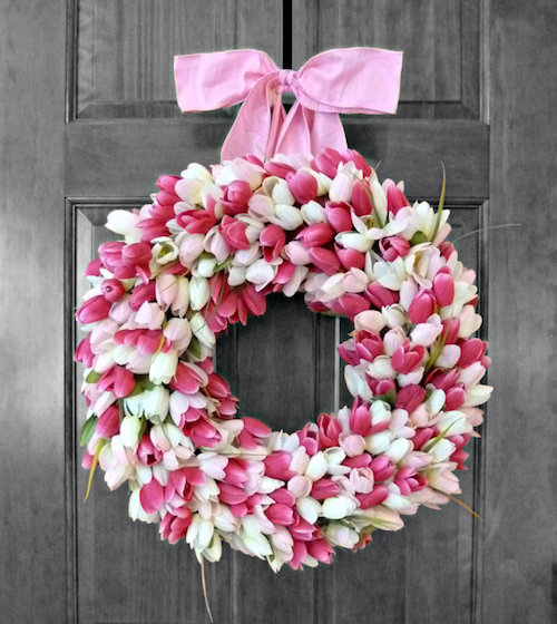 door wreath tulips idea
