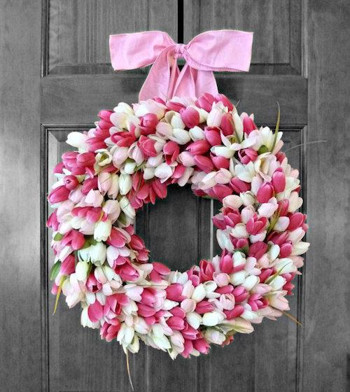 door wreath tulips idea