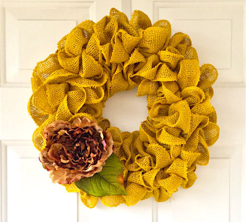 spring burlap wreath yellow