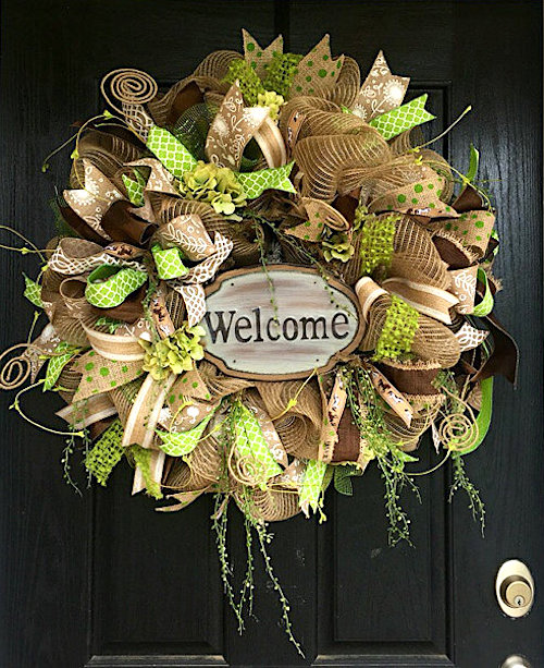 burlap deco mesh wreath