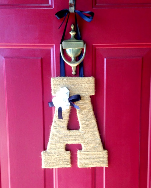 jute monogram letter wreath