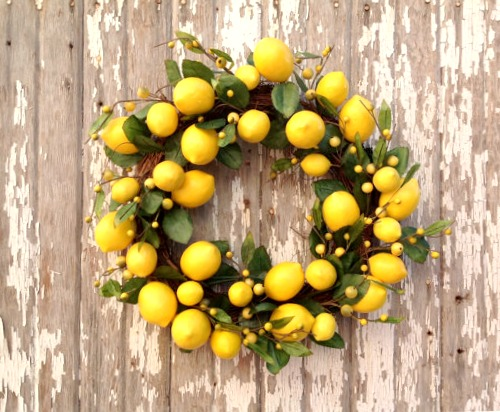 lemon fruit arrangements wreath