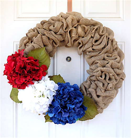 patriotic burlap wreath hydrangeas