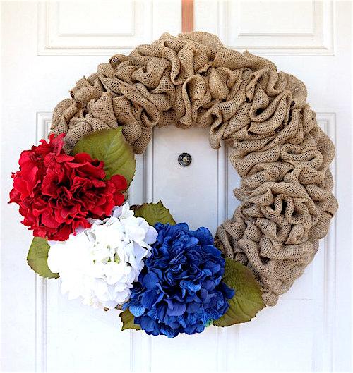 patriotic burlap wreath hydrangeas