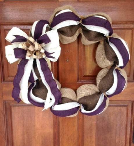 multi colored ribbon burlap wreath