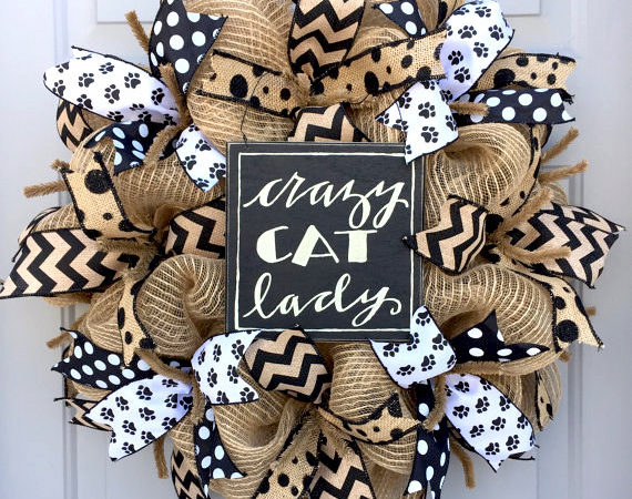 cat lovers deco mesh wreath