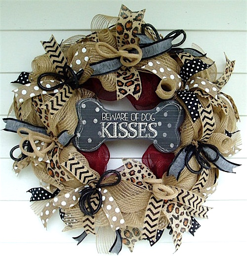 pet lovers burlap deco mesh wreath