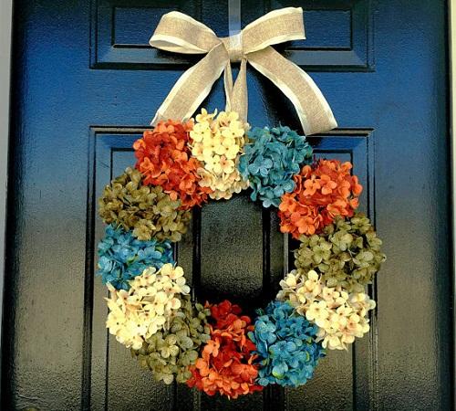 fall flowers wreath hydrangeas