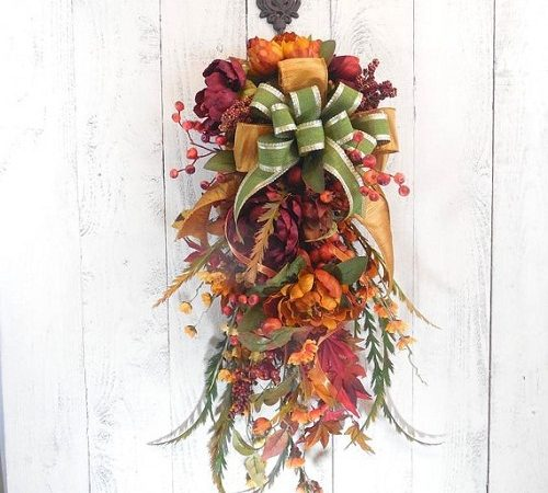 How to Use Flowers for a Beautiful Fall Door Swag