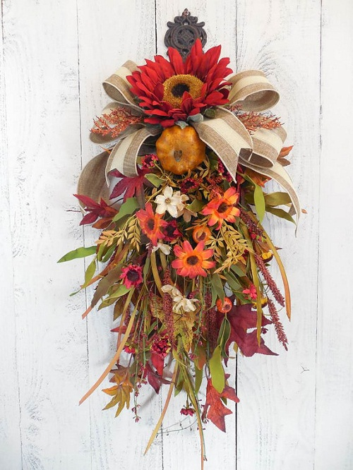 How To Use Flowers For A Fall Door Swag