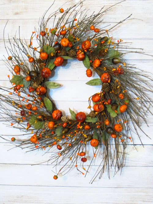 pumpkin decorations fall wreath