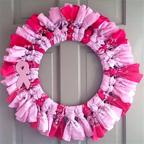 Breast cancer awareness wreath using bandanas