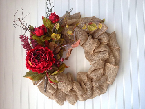 christmas burlap wreath - Burlap Christmas