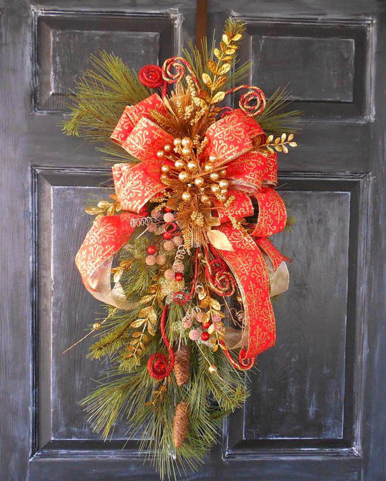 How To Make A Christmas Swag Door Wreath
