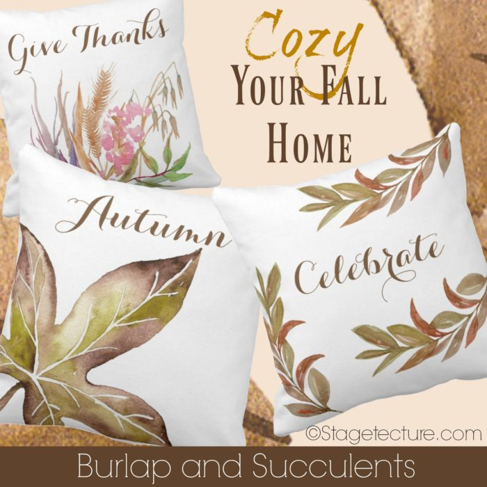 fall pillows burlap and succulents