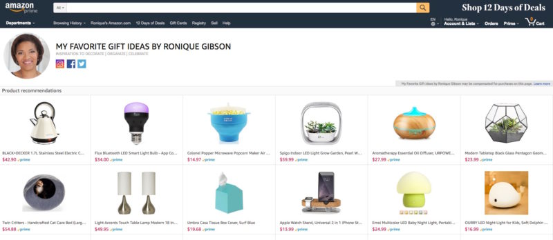 Amazon gift guide Ronique Gibson